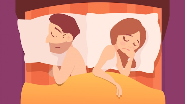 Unsatisfied couple in bed, cartoon illustration.