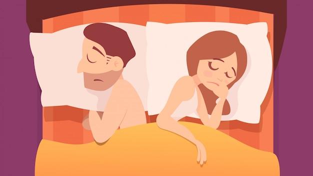 ベッド、漫画イラストの不満のカップル。