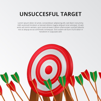 Unsuccessful and fail of archery arrow on 3d target board template