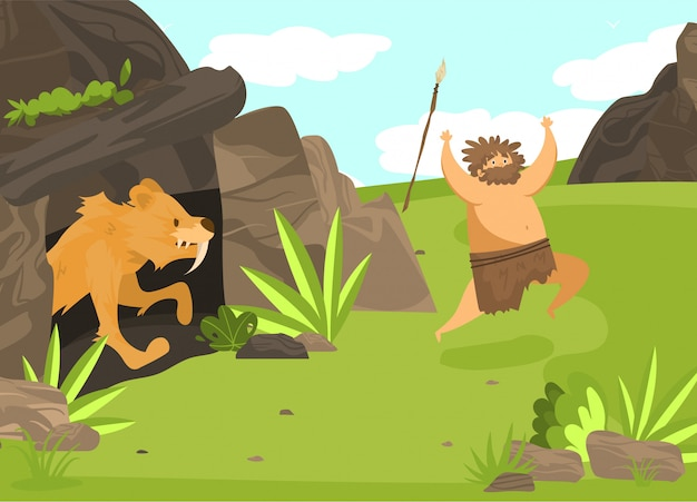 Unsuccessful hunting, character male, saber toothed tiger from cave attack man with spear, flat  illustration. ancient tribe on hunt.