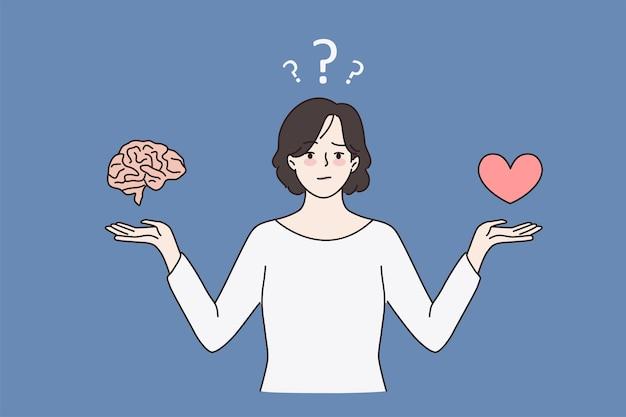 Неуверенная женщина выбирает между мозгом и сердцем