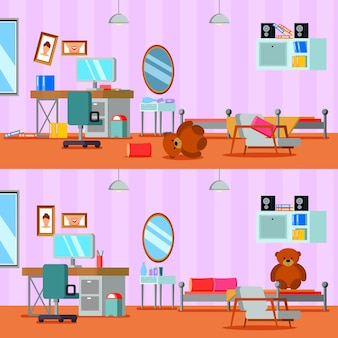 Untidy and cleaned teen room of girl in lilac orange color flat compositions isolated