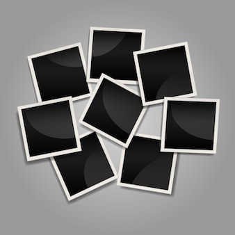 Untidy instant photo frame collage with flat design