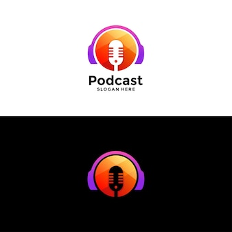 無題-マイクとヘッドフォンのアイコンを使用したポッドキャストまたはラジオのロゴデザイン