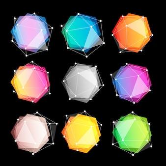 Unusual abstract geometric shapes logo set.