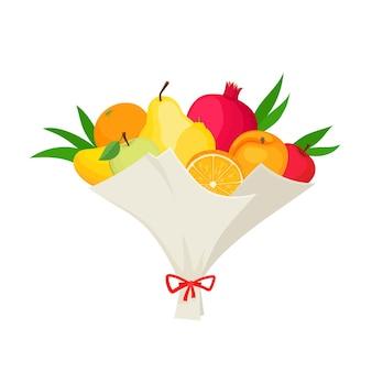 과일 석류, 배, 복숭아 흰색 절연의 특이한 꽃다발. 잡지, 카페, 스티커에 사용되는 원래 채식주의 선물이 있는 벡터 삽화.