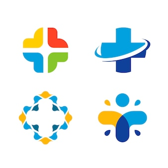 Unusual cross vector logo set healthcare isolated symbol colorful cross logos collection