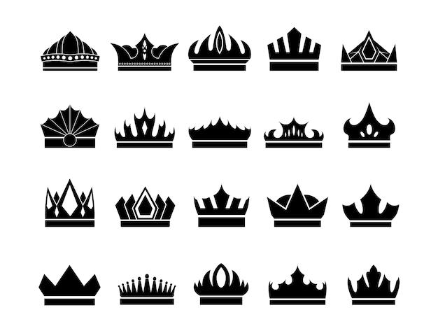 白で隔離される珍しい王冠アイコンセット