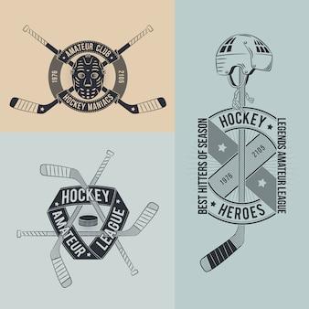 Unusual hockey logo in retro style set