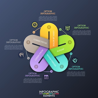 Unusual infographic design layout. five colorful elements with gaps connected together, thin line symbols and text boxes.