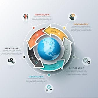 Unusual infographic design template with 5 colorful arrows located around sphere, icons and text boxes