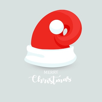 Unusual modern santa claus hat with christmas lettering new year red hat isolated winter cap