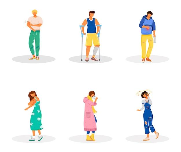 Набор плоских цветных безликих персонажей нездоровых пациентов. боли в животе. боль от воспаления. проблемы здравоохранения. симптомы болезни изолированные иллюстрации шаржа на белом фоне