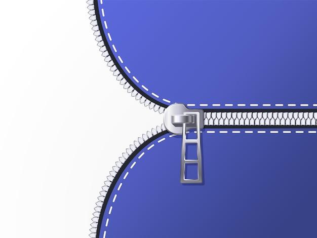 Unzip background. unlock zipper, open clothing zip and unbutton clasp backdrop illustration