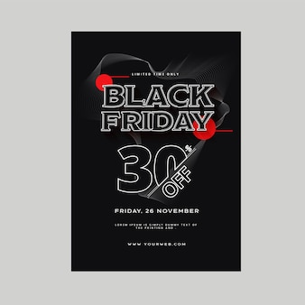Up to 30% off for black friday sale template design for advertising.