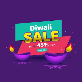 Up to 45% off for diwali sale poster design with lit oil lamps