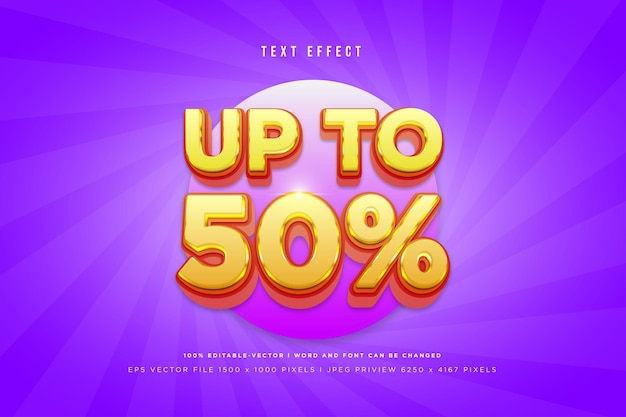 Up to 50% 3d text effect on purple background