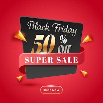 Up to 50% off for black friday sale poster design with 3d golden triangle elements.