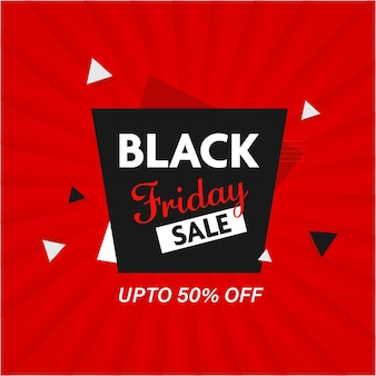 Up to 50% off for black friday sale poster or template design in red color.