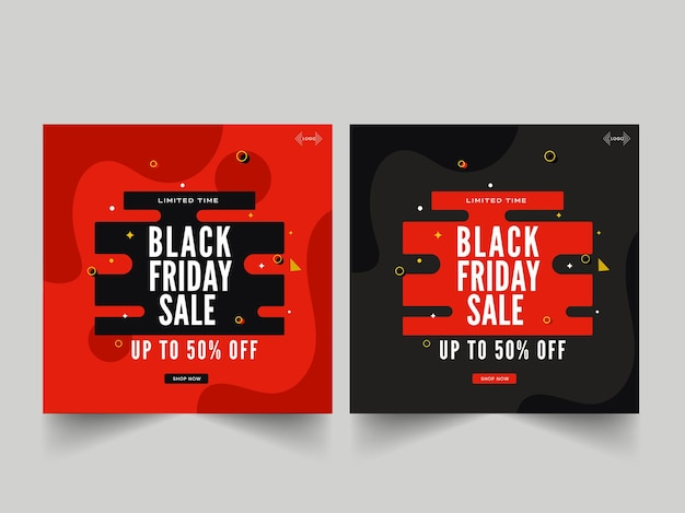 Up to 50% off for black friday sale poster or template design in two color option.