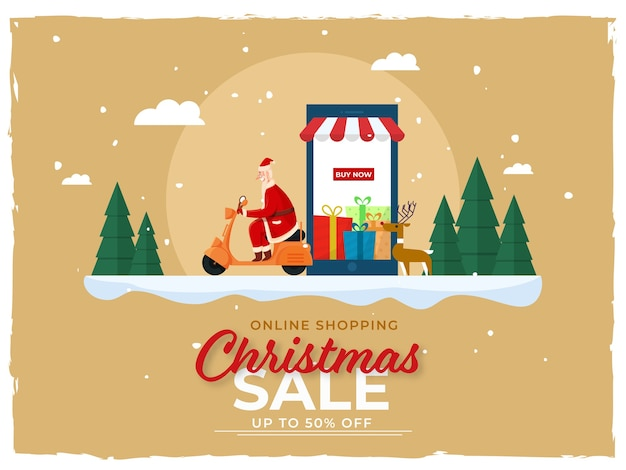 Up to 50% off for christmas sale poster design