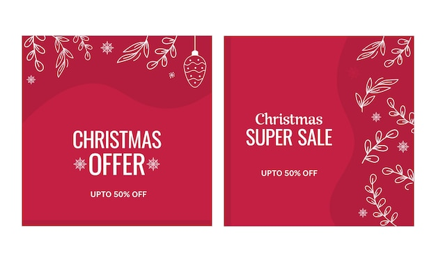 Up to 50% off for christmas sale poster or template set in red color.