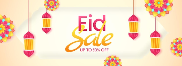 Up to 50% off for eid sale banner or header design decorated with colorful floral and paper cut lanterns hang.