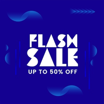 Up to 50% off for flash sale poster design in blue and white color.