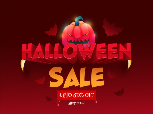Up to 50% off for halloween sale poster design with jack-o-lantern