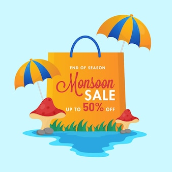 Up to 50% off for monsoon sale poster design with shopping bag and umbrella.