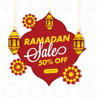Up to 50% off for ramadan sale poster design with hanging lanterns and islamic pattern