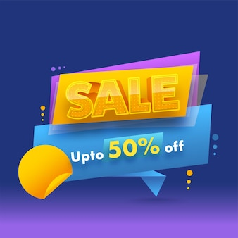 Up to 50% off for sale poster design in blue and violet color