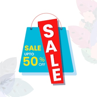 Up to 50% off for sale poster design with shopping bag illustration.