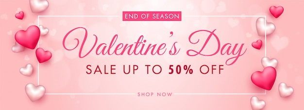 Up to 50% off for valentine's day sale header or banner design decorated with 3d hearts.