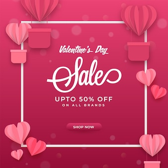 Up to 50% off for valentine's day sale poster design with pink paper cut hearts