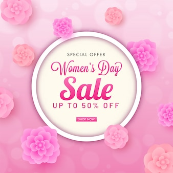 Up to 50% off for women's day sale poster design decorated with top view of paper cut flowers.