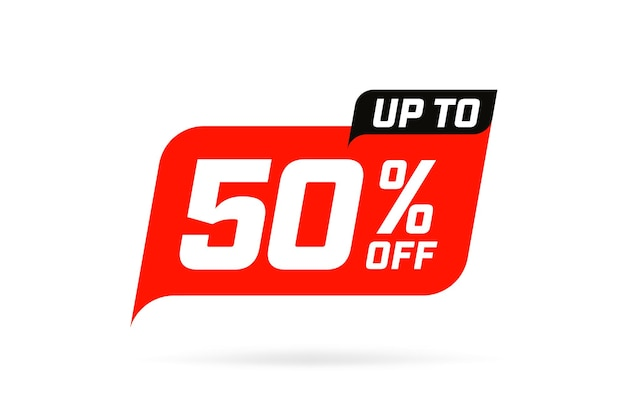 Up to 50 percent off special offer promo marketing sale tag