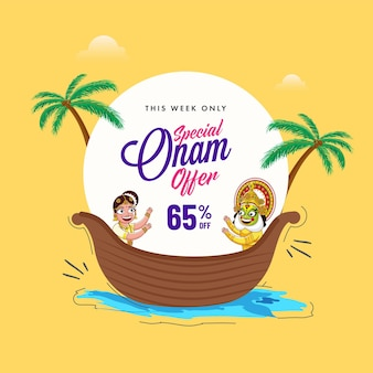 Up to 65% off for onam sale poster design with south indian woman, kathakali dancer on vallam kali (snake boat) illustration.
