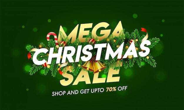 Up to 70% off for mega christmas sale text decorated with jingle bell, pine leaves, baubles and lighting garland on green bokeh  for advertising .