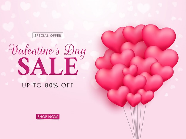 Up to 80% off for valentine's day sale banner with pink heart balloon bunch.