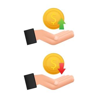 Вверх и вниз знак доллара в руках на белом фоне. векторная иллюстрация штока.