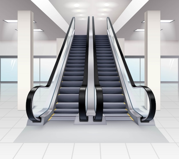 Вверх и вниз по эскалаторам внутри концепции здания