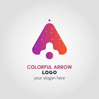 Up arrow business logo template using double exposure effect