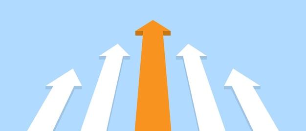 파란색 배경에 위쪽 화살표입니다. 경력 및 재정적 성장. 벡터 일러스트 레이 션 eps 10