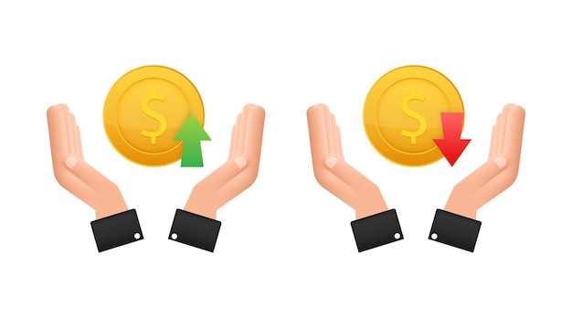 Up and down dollar sign in hands on white background. vector stock illustration.
