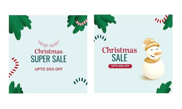 두 가지 옵션에서 3d 눈사람이 있는 크리스마스 판매 게시물 또는 템플릿 최대 50% 할인.