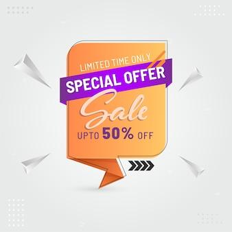 판매 라벨, 3d 기하학적 삼각형 요소가있는 포스터 디자인 최대 50 % 할인.