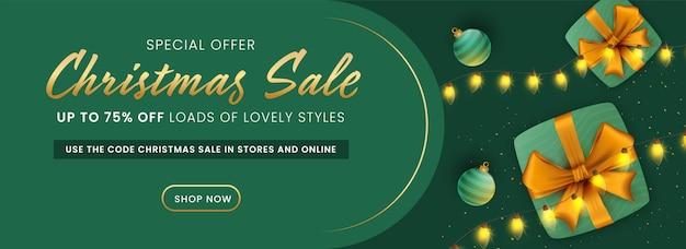 Скидка до 75% на новогоднюю распродажу, украшенный дизайн заголовка или баннера