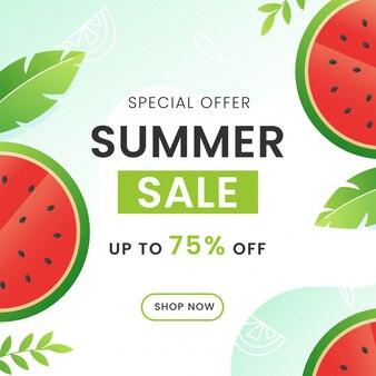 Скидка до 75% на дизайн плаката летняя распродажа с арбузами и зелеными листьями.