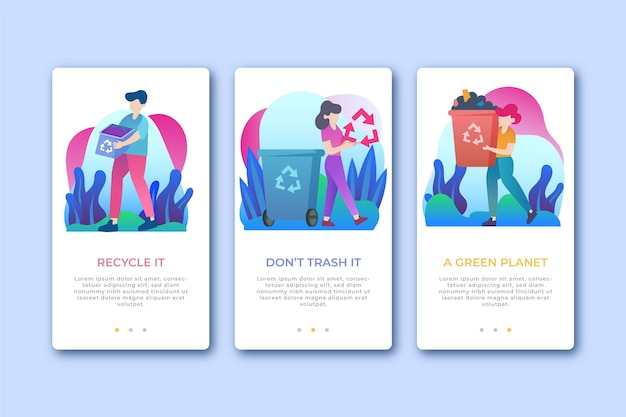 Upcycle onboarding app screens
